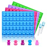 Silicone Candy Gummy Bear Molds - Chocolate Molds Including Bears, Frogs, Lions, Monkeys, Penguins Gummie Molds Premium Silicone BPA Free, Pinch Test Approved Pack of 4 with 2 Droppers