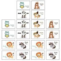 Tomaibaby 24Pcsありがとうカード封筒付き動物パターンヴィンテージ招待状カード感謝カードステッカーパーティー引出物