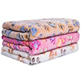 Petsvv 3 Pack Dog Blanket, Fleece Pet Blankets Keeping Pet Hair from Furniture, Soft Flannel Blanket and Throw for Cat Puppy Small Dog