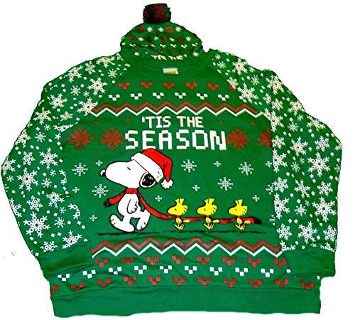 Peanuts Snoopy and Woodstock Juniors Holiday Sweatshirt and Hat - Medium Green