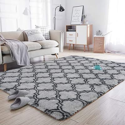 Noahas Soft Area Rugs for Bedroom Living Room Shaggy Patterned Fluffy Carpets for Nursery Baby Rooms Silky Smooth Fuzzy Kids Play Mats Christmas Thanksgiving Holiday Decor Rug, 5ft x 8ft, Dark Grey