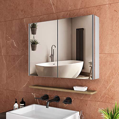 Safeni LED Lichtspiegelschrank, 80x60x15cm Badezimmer Spiegelschrank mit Beleuchtung, Bluetooth+Sensor Schalter+Innen Außenspiegel, mit Schweberegale (Silberfurnier, 2 in 1)