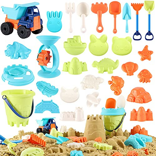 Beach Sand Toys For Kids - 31 PCS Sand Castle Toys for Beach, Snow Toys Sandbox Toys with Truck, Water Wheel, Sand Bucket with Sifter, Shovels, Rakes, Animal Castle Molds in Mesh Bag,Kids Outdoor Toys