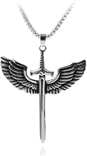 Sword with Wings Necklace for Men Women Unisex Punk Cool Goth Gothic Vintage Angel Wings Sword Cross Pendant Necklace Engr...