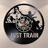 BFMBCHDJ Train Wall Art Gym Reloj de Pared Muscle Man Weighting Vinyl Record Reloj de Pared Fitness Center Reloj Decorativo