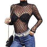 ALIXIN-Mesh Hollow Damen Durchsichtige transparente Blusen T-Shirt-Oberteile,Goddess Sexy Tight Wild Net Mesh-Siamese-Stehkragenhemd,langärmliges Dance Street-Oberteil,Damen-Party-Bluse. (S)