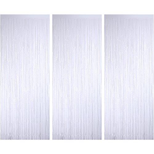 3 Piezas de Cortina de Oropel Metálica, Cortina Brillante de Borlas de Lamina Decoración de Ventana para Fiesta de Cumpleaños Boda Blanco