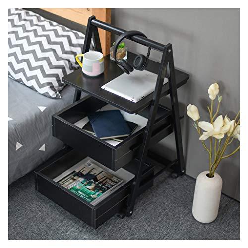 ELYSYSRL nachtkastje telefoontafel met beweegbare salontafel met een lade met opbergvakken met uittrekbare laptoptafel consoletafel 42X42 cm zwart