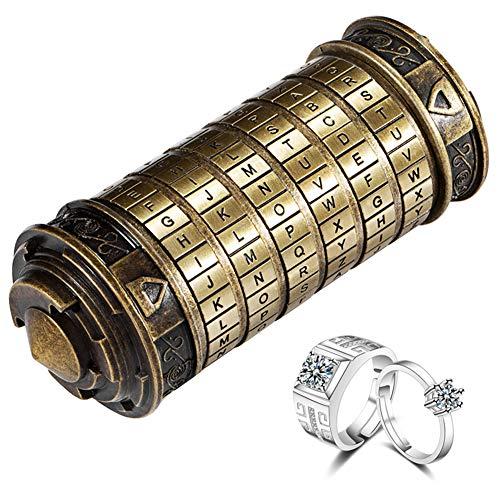 Szjiajian Da Vinci Code Mini Geeignet zum Weihnachten Geburtstag Valentinstag Kreatives Romantisches Geschenke ,Puzzle Zylinderschloss Box (Retro Farbe)