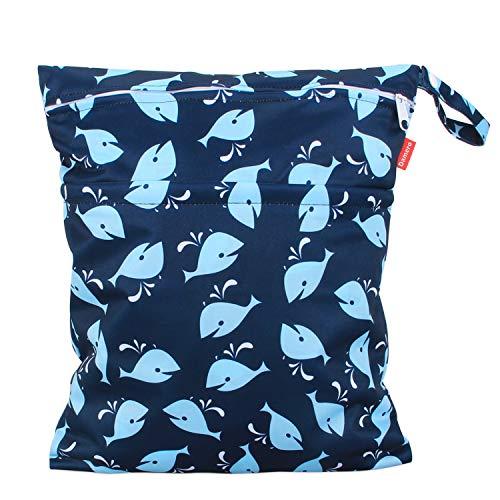 Damero windeltasche wetbag für Unterwegs, wiederverwendbar Nasstaschen für Babys Windeln, schmutzige Kleidung und anderes Zubehör, (Groß, Wal)