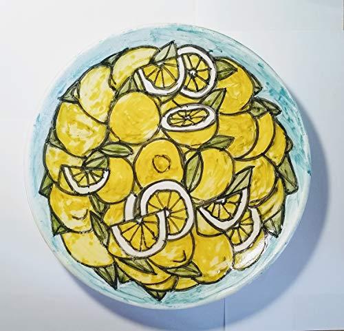Lemons-glasierte keramische Schale mit Zitronen Hand verziert, Durchmesser Größe von cm 26,2 Höhe cm 4,1-Made in Italien,Toskana,Lucca.Erstellt von Davide Pacini.