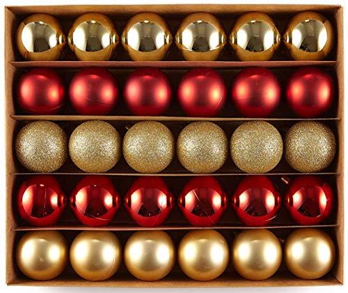 HEITMANN DECO Krebs & Sohn Set di 30 Palline di Natale in Vetro - Albero di Natale Deco Appeso - Palle di Natale - Rosso Oro