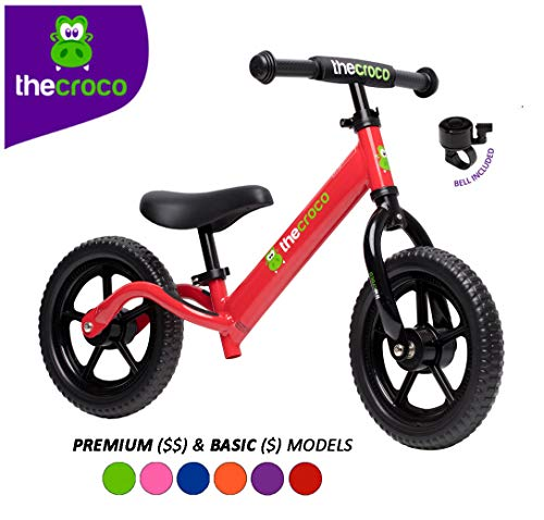 TheCroco Lightweight Balance Bike for Toddlers and Kids… (Red, Premium Model (Aluminum))