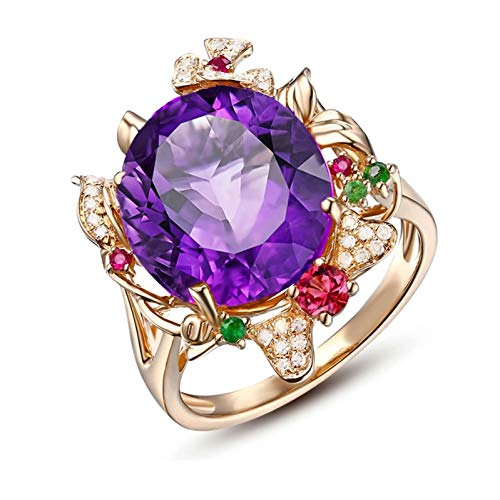 Ubestlove Vintage Engagement Rings For Her Anniversary Gifts For Her Girlfriend Natural Amethyst Diamond Tourmaline Ring Ladies Gifts O 1/2