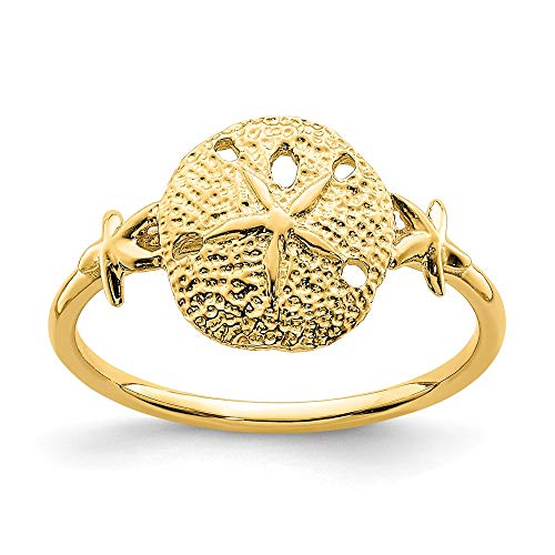 14k Yellow Gold Sand Dollar Sea Star Starfish Band Ring Size 7.00 Shell Life Fine Jewelry For Women Gifts For Her