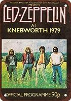 Shimaier 壁の装飾 メタルサイン ウォールアート - 1979 Led Zeppelin at Knebworth 縦40×横30cm ヴィンテージ風 ライセンスプレート メタルプレート ブリキ 看板 アンティーク レトロ