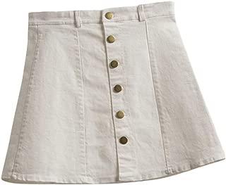 Women Teens Girl Fashion Button Front Denim A-Line Short Skirt Mini Skirt