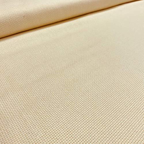 Kt KILOtela Tela panamá para Punto de Cruz - Tela Aida de algodón - 5,5 Puntos/cm - 14 Cuentas - Retal de 50 cm Largo x 150 cm Ancho   Beige ─ 0,50 Metro