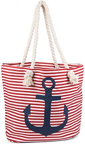 styleBREAKER borsone da spiaggia a righe con ancora, borsa scolastica, borsa per shopping, donna 02012038, colore:Rosso-Bianco Marino