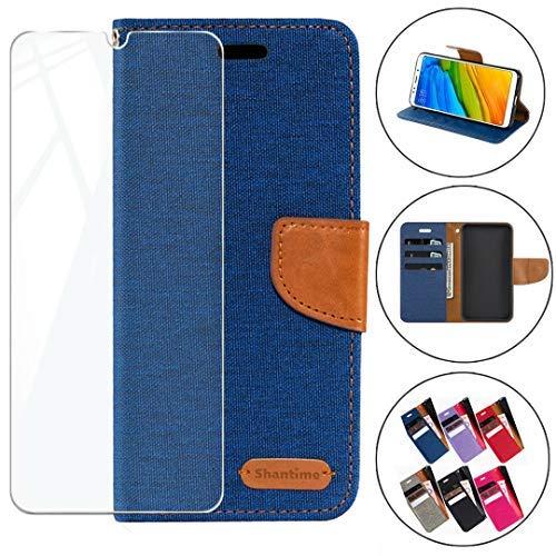 HYMY Denim Hülle für Oppo Find X2 Neo + Schutzfolie Panzerglas Folie - Lederhülle Flip Schutzhülle Card Slot mit Brieftasche Handyhülle Bookstyle Flip Cover Hülle - Blau
