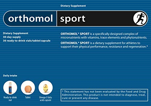 Orthomol Sport Trinkfläschchen, 30 Trinkampullen - Zellschutz, Vitamine & Mineralstoffe in Ampullen mit Tabletten & Kapseln - Nahrungsergänzungsmittel