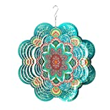 FONMY Stainless Steel Wind Spinner-3D Indoor Outdoor Garden Decoration Crafts Ornaments 12Inch Multi Color Mandala Flower Wind Spinners