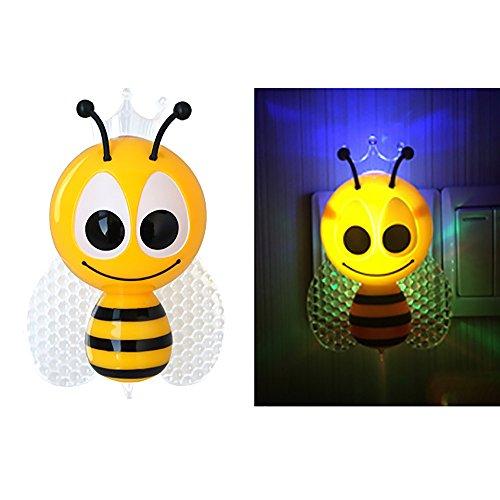 VANKER UE Plug Lovely Cute Insecte Abeille Nuit Lumière Lampe de Mur LED Lampe de Nuit pour Les Enfants Chambre