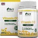 Vitamin D3 365 Softgels (Full Year Supply) 1000IU Vitamin D3 Supplement, High Absorption Cholecalciferol by Nu U Nutrition from Nu U Nutrition