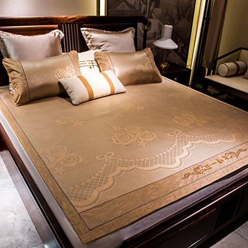 Tapis de lit double pliable de 1,8 m Sièges de rotin d'été Trois pièces 1,5 M de soie d'été Sous-tapis de climatisation en soie doux pour la peau et confortable (avec deux taies d'oreiller en rotin)