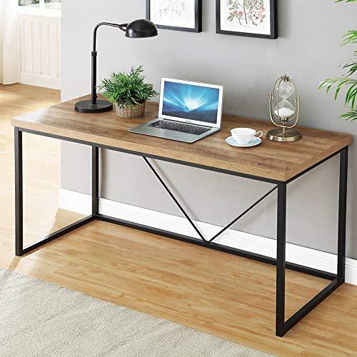 FOLUBAN - Escritorio de ordenador industrial rústico de madera y metal, mesa de PC vintage para oficina en casa, roble