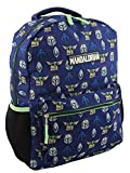 Star Wars Mandalorian Baby Yoda Boy's Girl's Adult 16 Inch School Backpack (One Size, Blue/Green)