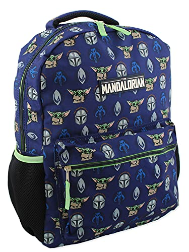 Star Wars Mandalorian Baby Yoda Boy's Girl's Adult 16 Inch School Backpack (One Size, Blue/Green)
