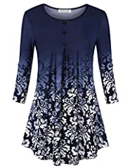 """Machine wash, Cold Highly recommended the color """"Modern Block"""" , which is based on the design of Modernism fashion. Every piece is unique pattern. Elbow sleeves, pleated front with three buttons deco Loose fit style, swing hem to hide your tummy perf..."""