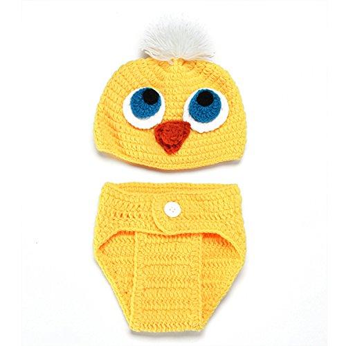 ENCOCO Baby Fotografie-Requisiten für Neugeborene Fotoshootings Outfits Häkelkostüm Kleinkinder Jungen Mädchen gestrickt kleine gelbe Entenmützen Windel-Set No Shoes