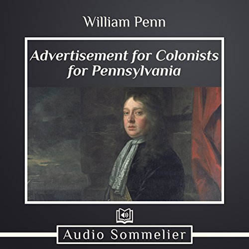 Advertisement for Colonists for Pennsylvania audiobook cover art