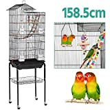 Yaheetech Large Roof Top Parrot Cage Bird Cage for Cockatiel Conure Parakeet Budgie Finch Lovebird with Stand/Toys Black