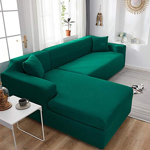 Fsogasilttlv Elastisch Sofabezug 3-Sitzer, elastische Spandex-Schonbezüge Couchbezug Stretch-Sofa Handtuch, Ecksofabezüge für Wohnzimmer Dunkelgrün