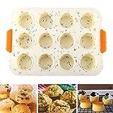 Teglie da Muffin, NALCY Teglia Antiaderente per 12 Muffins, Grande Set Teglia Muffin Silicone, Può Essere Utilizzato, 12 tazze di teglia per muffin in silicone e teglia grande per Torte, Muffin, Ciocc