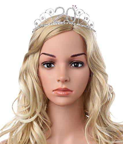BABEYOND Kristall Geburtstag Tiara Birthday Crown Prinzessin Kronen Haar-Zusätze Silber Diamante Glücklicher 18/20/21/30/40/50/60 Geburtstag (20 Jahre alt) - 3