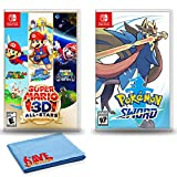 Nintendo Switch Super Mario 3D All-Stars with Pokemon Sword and 6Ave Cleaning Cloth