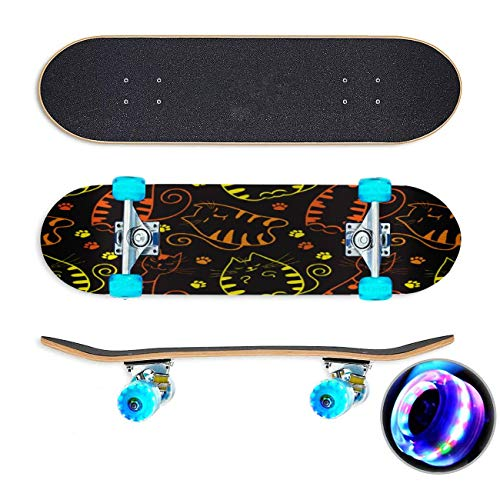 UYDBKSJABM Heldere katten op EEN zwarte achtergrond Naadloos Patroon Skateboard Colorful Flashing Wheels Extreme Sports&Outdoors 31''Cruiser Complete Standard Longboard Beginners Kids Cool Boys Teen