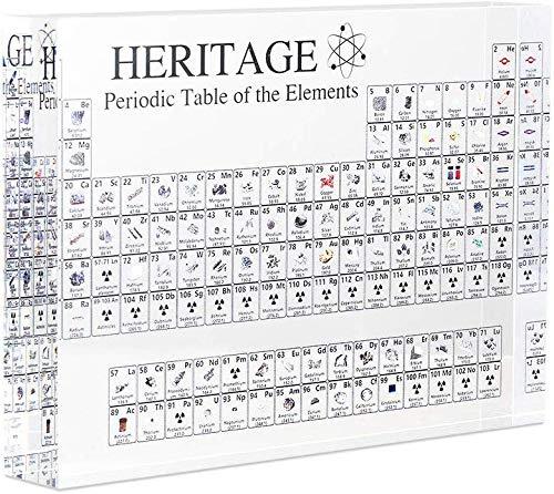 Genlesh Periodensystem aus Acryl mit echten Elementen für Lehrer, Studenten, Geschenke, Basteln, Dekoration