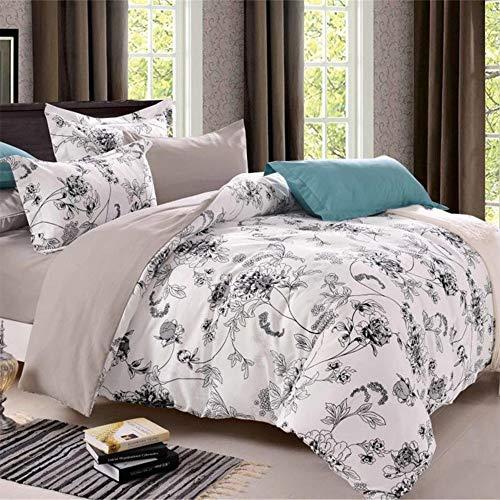 Long Vintage Floral Duvet Cover Set with Zip Closure Duvet Cover Pillowcases Super Soft Modern Floral Pattern Design 3-Piece Bed linen set, Blumen 03, 140 x 200 cm