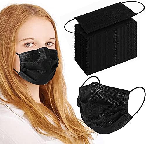 100Pcs Black Disposable Face Mask, 3 Ply Black...