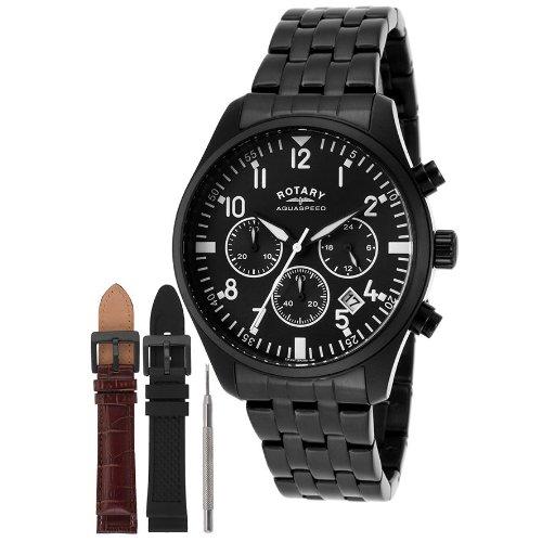 Rotary GB00110/04/KIT - Reloj de Pulsera Hombre, Revestimiento de Acero Inoxidable, Color...