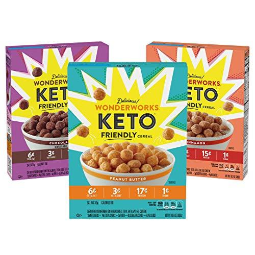 Wonderworks Variety Pack, Keto Friendly Breakfast Cereal, 3 Pack, Chocolate, Cinnamon and Peanut...