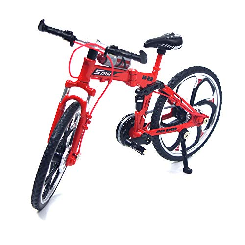 Ailejia Zinc Alloy Finger Mountain Bike Mini Bicycle Model Cool Boy Toy Decoration Crafts for Home (Red)
