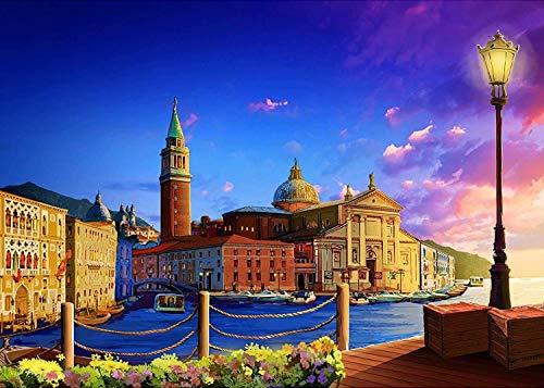 Puzzle-Venecia romántica Ciudad Flotante para Adultos Rompecabezas de Madera Juguetes 105x75cm