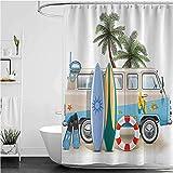 lovedomi Coastal Duschvorhang für Essen am Strand in der Sonne, Palmen & Schatten für Schatten, Duschvorhänge aus wasserdichtem Polyestergewebe, 183 x 183 cm, Badezimmer-Zubehör-Set