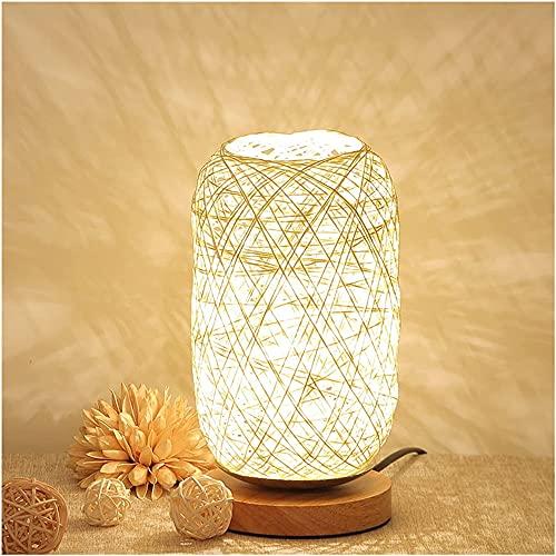 Lámpara de escritorio de carga USB táctil, diseño único, luces de bola de hilo de ratán de madera, decoración artística, lámpara de noche, base de madera de goma, estilo pastoral nórdico, decoración c
